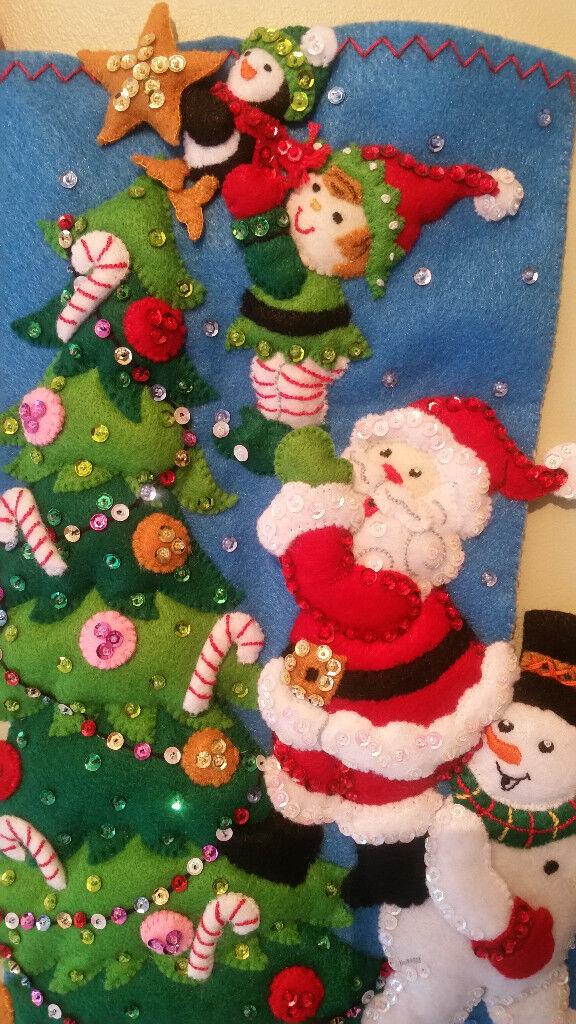 Bucilla Christmas Stocking/Embroidered Gift / Handmade Felt