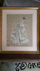LOVELY FRAMED NEEDLE WORK PICTURE --THE BRIDE IN BRIDAL GOWN