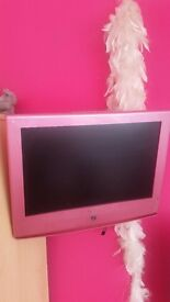 Pink lcd tv with built in dvd player