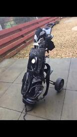 Full set golf clubs and trolley slazenger tour series