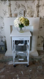 WHITE SHABBY CHIC STYLE SMALL KITCHEN TROLLY/VEGETABLE RACK