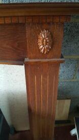 Dark wood fire surround/ mantelpiece