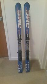 Fischer Carver Skis 140cm with bindings and K2 Ski Poles 110cm