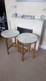 Gold and marble effect folding tables