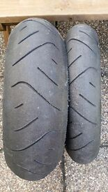 Metzeler Rennsport Motorbike road tyre pair 180/55 and 120/70 Part Worn
