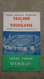 1956 England v Yugoslavia programme