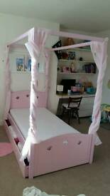 Pink Mia Four Poster bed with silent night mattress