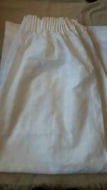 """White Voile Checked Curtains 54"""" L x 87"""" W"""