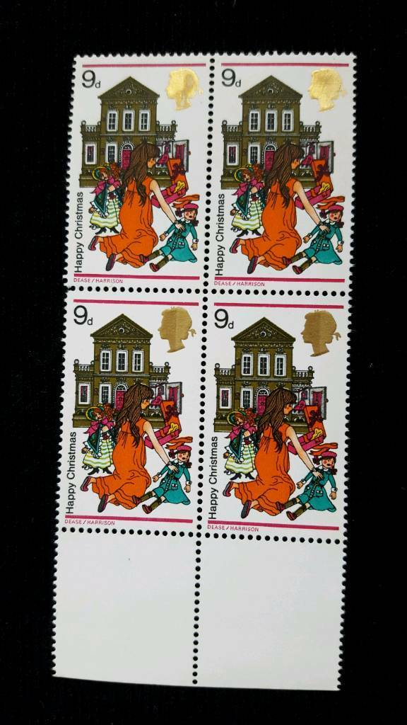 BLOCK OF 4 CHRISTMAS 1968 9d STAMPS