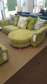 DFS Lime Green 3 seater and 2 seater sofa