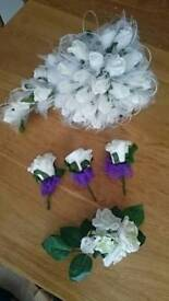 Bride teardrop ivory rose bouquet groom best man roses and mother corsage ribbons