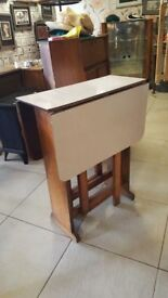 Vintage Mid Century Formica Drop Leaf Kitchen Table Ideal For Limited Space