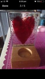 Homemade glass candle holder