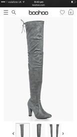 Over knee boots in grey