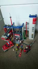 Playmobil fire station with vehicles