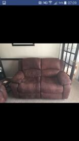 2 and 3 seather harveys recliner sofa brown