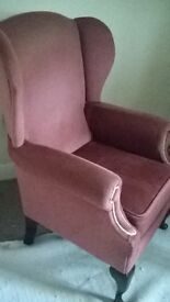 dusky pink wing backed arm chair