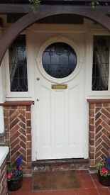 Reclaimed 1930s Front Door Stained Glass, with top and side panels