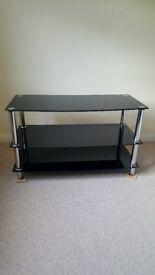 Black glass and chrome TV stand 95cm x 56cm x 45cm