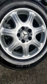 MERCEDES S CLASS ALLOY WHEELS AND MATCHING SET OF TYRES WITH 6+MM TREAD,
