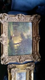 Three fabulous oil paintings in ornate gold gilt frames