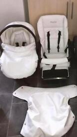 White leather babystyle travel system!
