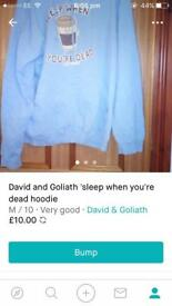 David and Goliath sleep when you're dead hoodie size M.