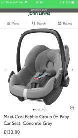 Maxi cosi pebble car seat in CONCRETE GREY perfect condition