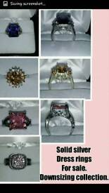Various solid silver cocktail rings