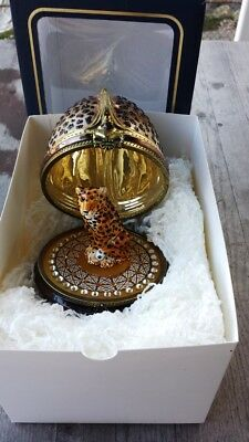 Stunning Komozja Poland Glass Leopard in Glass Egg Xmas Ornament Swarovski - New