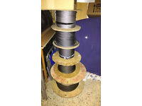 REELS OF STRONG INDUSTRIAL STEEL CABLES! HEAVY DUTY! UNWANTED! VARYING THICKNESS / LARGE REELS!!