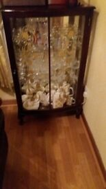Vintage 1950s glass mahogany cabinet