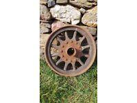 Antique French Michelin Bibendum Old Wooden & Metal Wheel 1920's Era RARE (B)