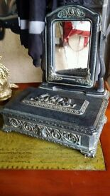 Lovely antique lined gothic roman box & mirror