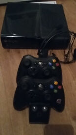 XBox 360 with various games and accessories