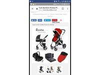 Riviera pushchair and carry cot.