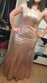 Gold sequin bridesmaid/prom dress