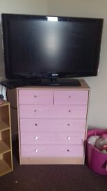 Tv, dvd player, drawers