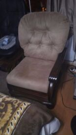 Mahogany armchair with brown suede upholsrery