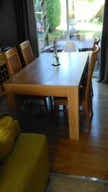 Dining table and six high back chairs