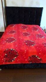 King size bed with velvet covering- Price reduced