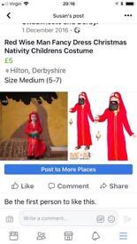 Red Wise Man Nativity Children's Costume (size5-7)