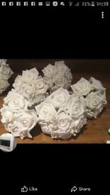 1 X BRIDES + 4 X BRIDESMAID BOUQUETS .. New Never Used. Artificial Roses with Diamante..