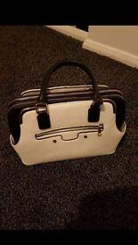 Women's Black and White Handbag