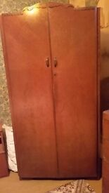 Antique wardrobe with shelves inside