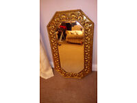 Lovely Brass Framed, Bevelled Edge, Shaped Mirror 29in x 17 in REDUCED TO CLEAR