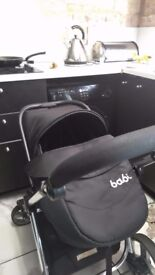 black babi 3 in 1 pram, carrier cot, pushchair, carseat, footmuff, apron, raincover and nappy bag