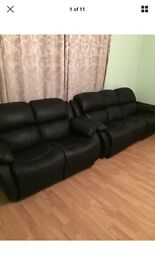 3+2 Seater Leather Recliner Sofas £450