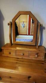 Solid pine dressing table swivel mirror and drawers