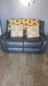 3 and 2 seater leather recliner sofa